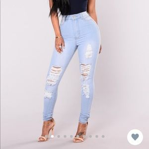 Fashion Nova Light Distressed Jeans